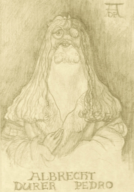 In case it isn't obvious to you fans of fifteenth and sixteenth century German engraving, this was inspired by Albrecht Durer's self portrait, c  irca 1500ish.