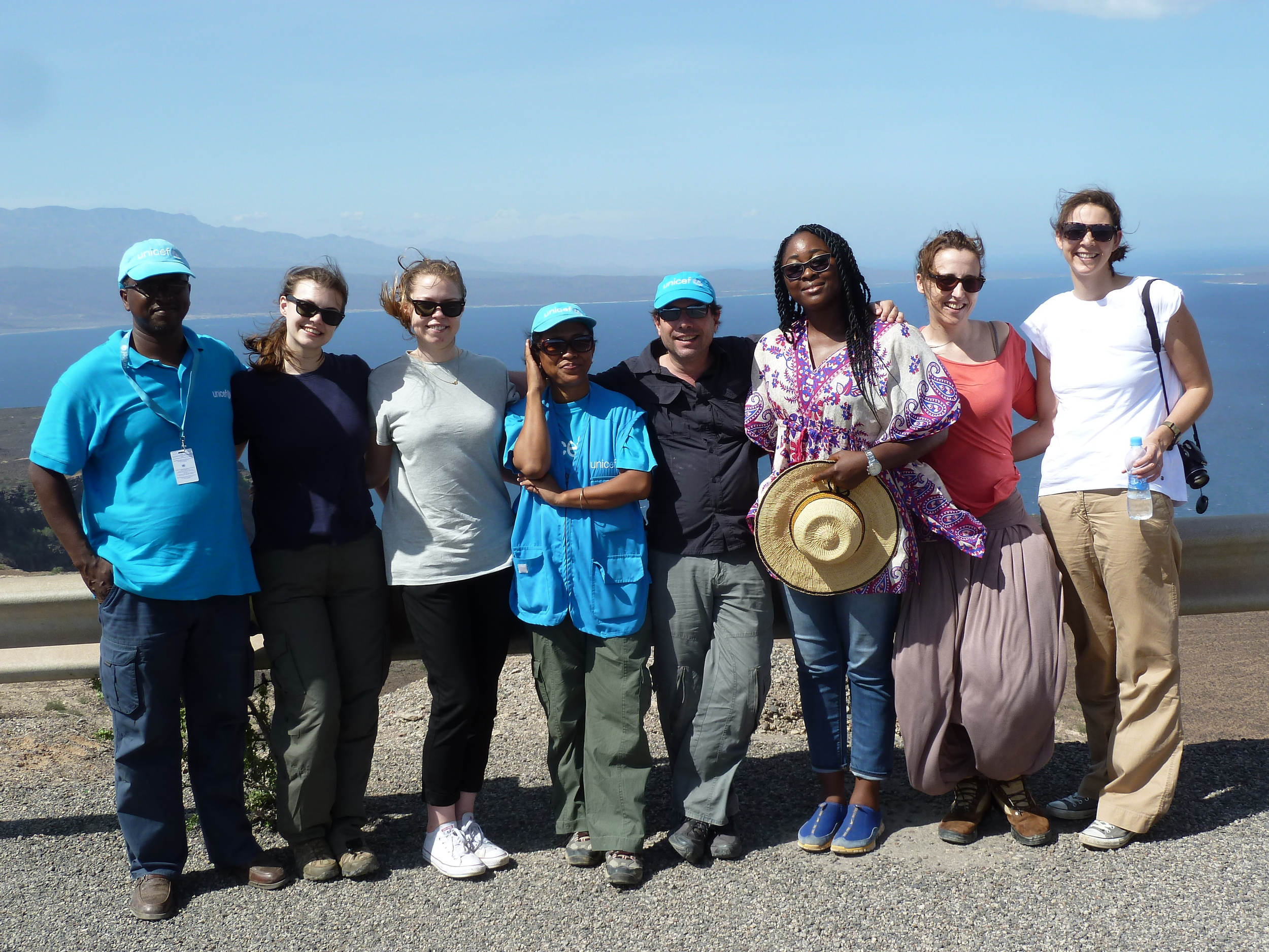 Olga, Nanji and Yvonne with UNICEF staff in Djibouti. Copyright : UNICEF