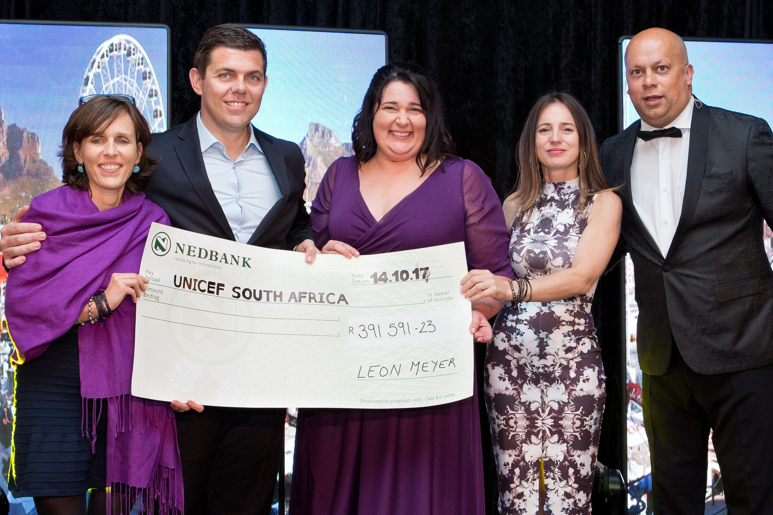 From left: Carine Munting – UNICEF Partnership Manager, Leon Meyer – General Manager The Westin, Marilize van Niekerk – Executive secretary to the General Manager, Sandra Bisin – UNICEF Chief of Communication and Partnerships and Jeremy Harris – radio personality and event MC.