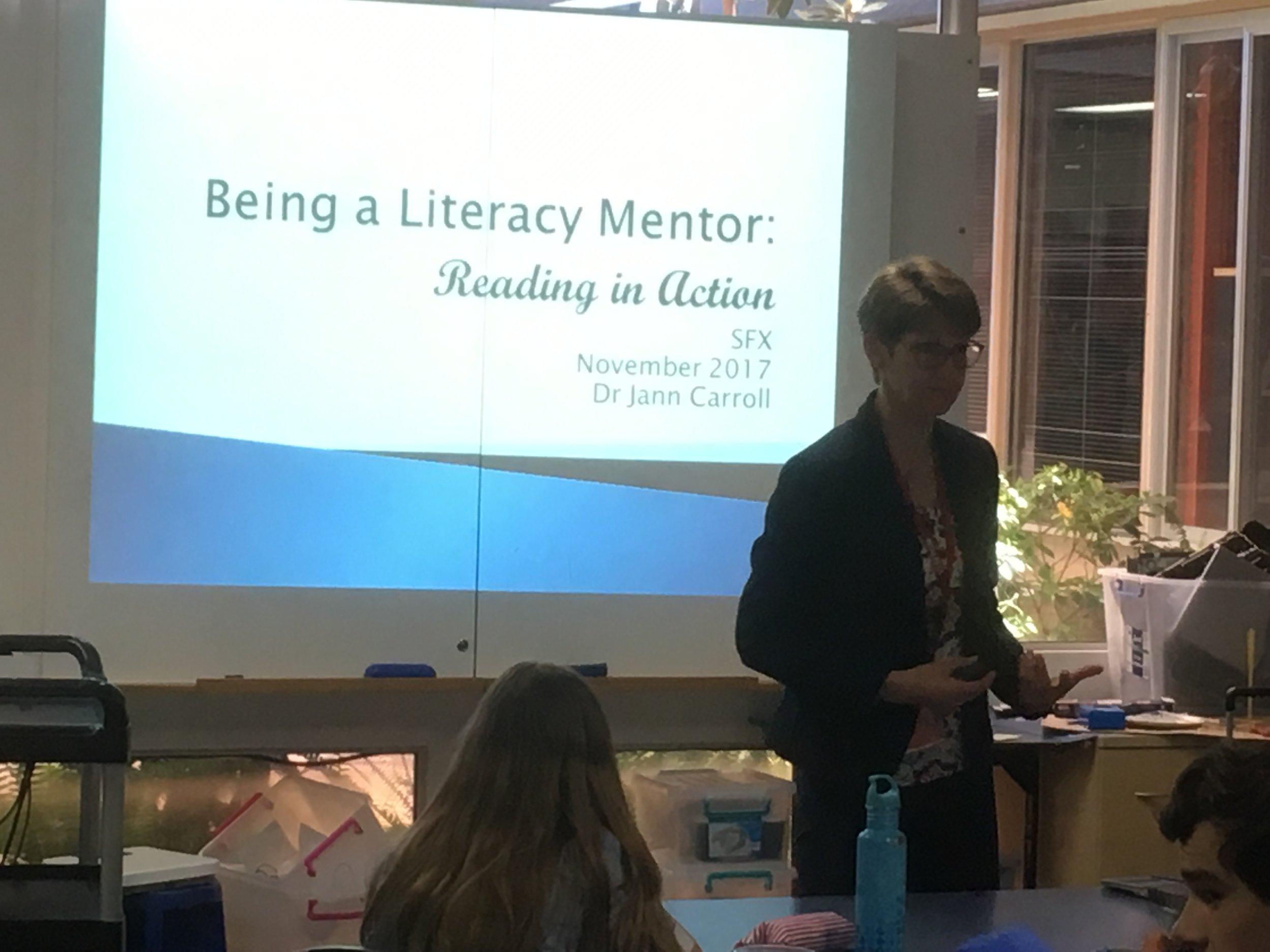 Dr Jann Carroll provides literacy mentor training to senior school mentors