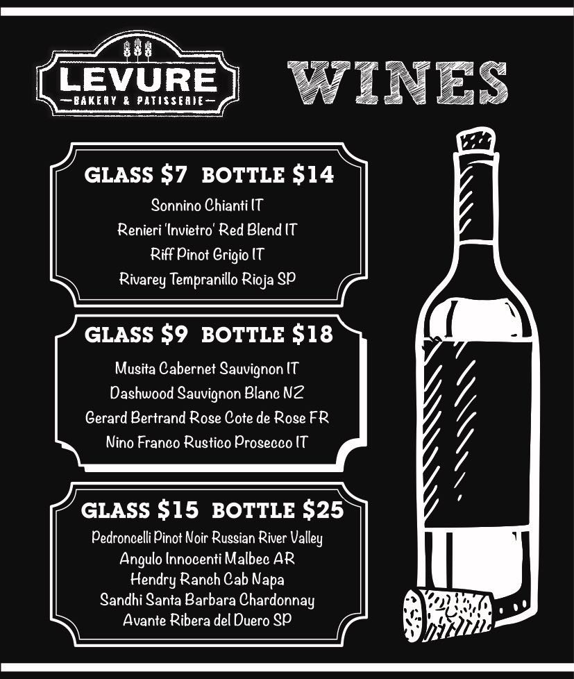 Levure Wine program  - Exclusive WinesRetail prices... you can get the bottle with the same price that 2 glasses.