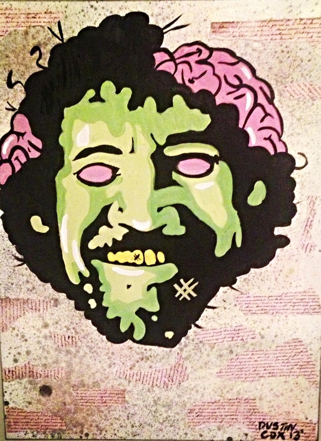 """Bob Ross Zombie 14"""" X 20"""" (2014)"""