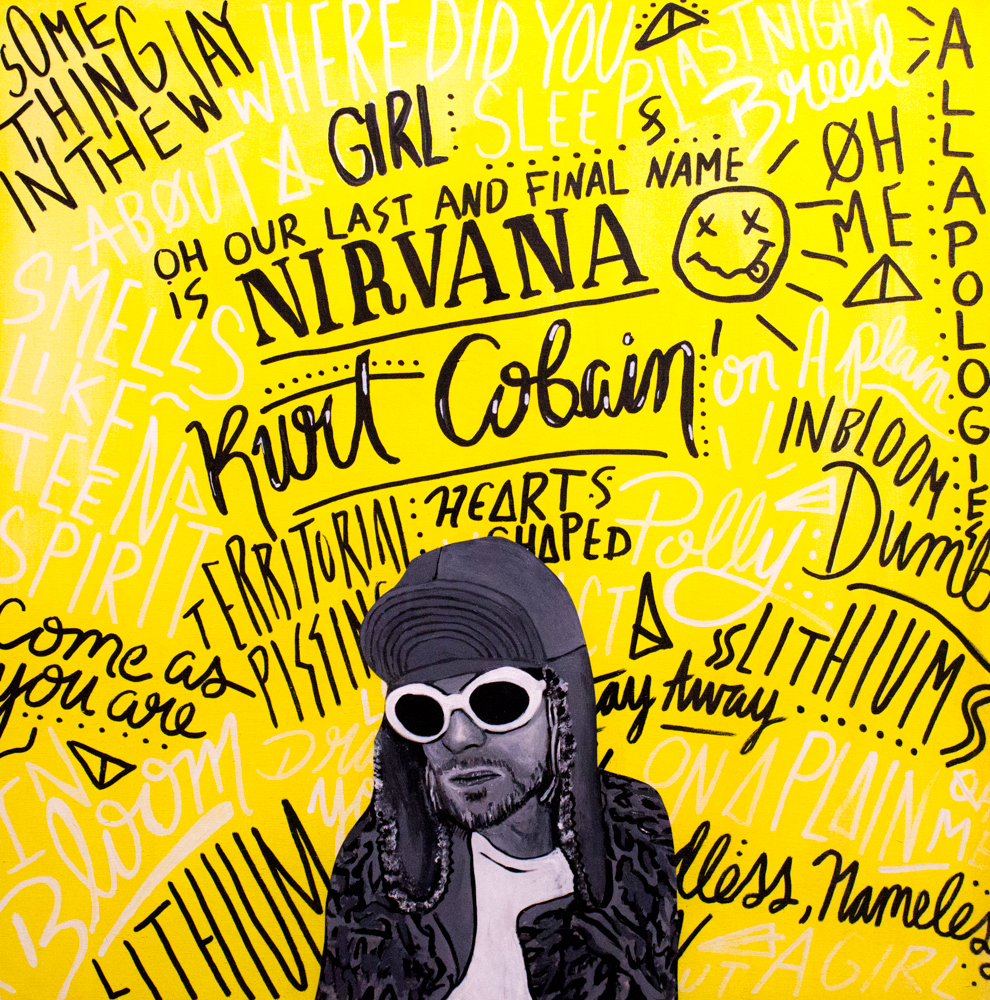 "Kurt Cobain Typographic Portrait 20"" x 20"" (2016)"