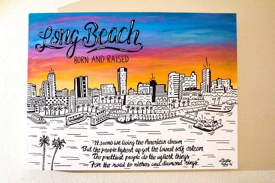 "Long Beach ""Born & Raised"" 24"" x 64"" (2016)"