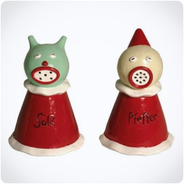 """""""Sea Salt and Jester Pepper"""" shakers."""