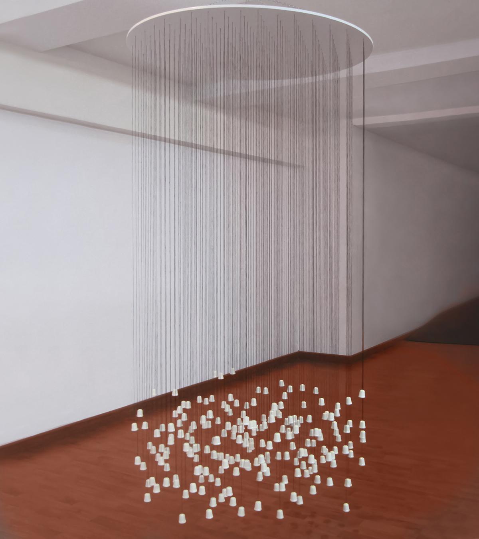 """Laura Piñeiro.""""El Canto de Filomela"""",Madera, hilo, dedales de cerámica y plomo. 220 x 90 x 90 cm. 2012"""