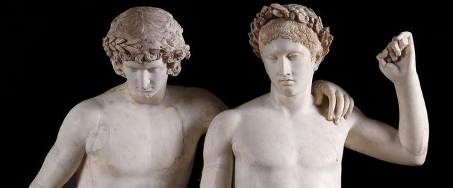 """""""Grupo de San Ildefonso"""".Siglo I d. C., mármol, 161 x 106 cm. Museo del Prado . Identificados tradicionalmente con Castor y Polux."""
