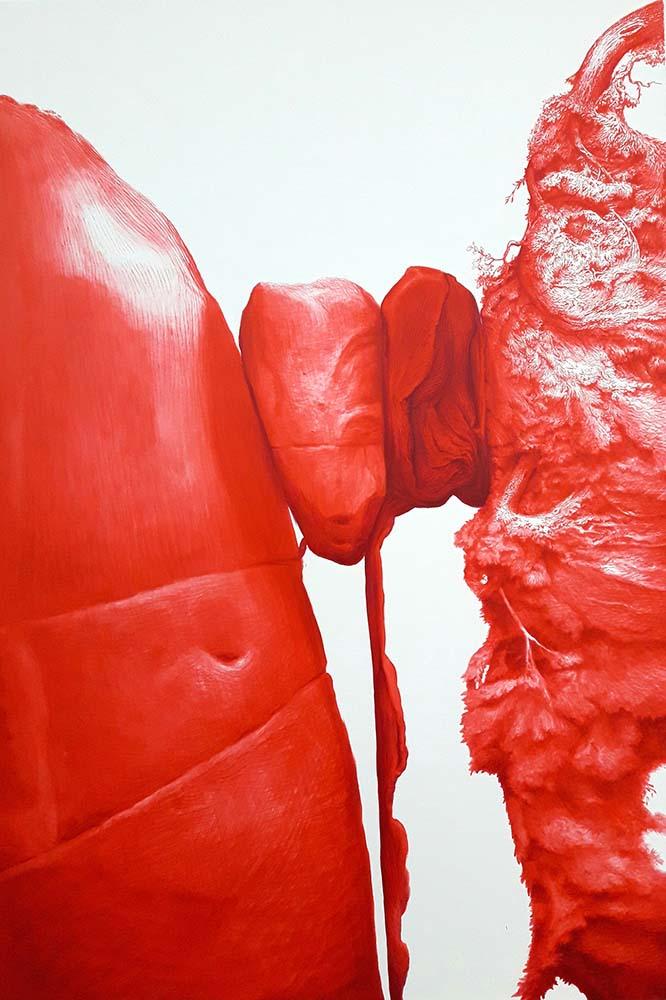 """Jesús Zurita. """"El ahora mismo"""" (detalle), 2016. Acrílico sobre lienzo.130 x 89 cm."""