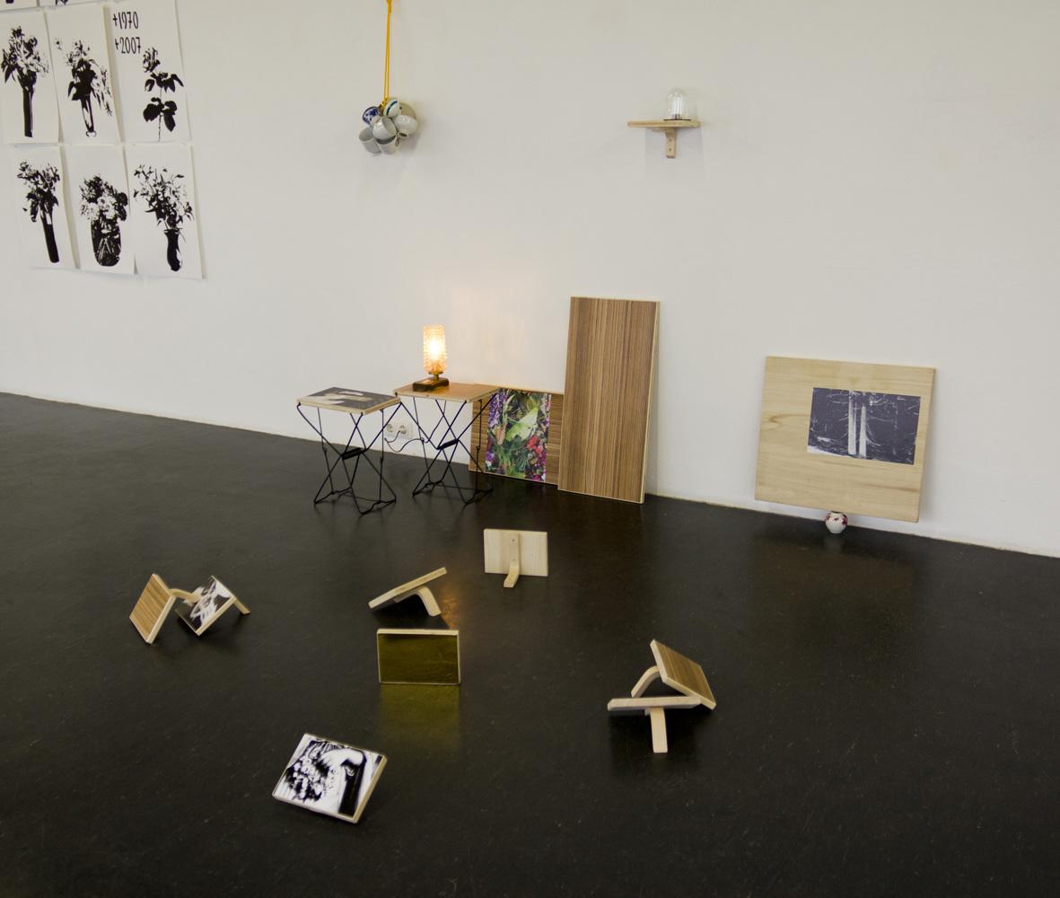 Schöne arbeiten . Madera, bronce, cristal, fieltro, fotografías, objetos (lámpara y cerámica). 200 x 140 x 150 cm aprox. 2012
