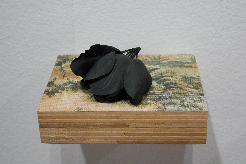 azuring // flores negras  . madera, papel, plástico. 8 x 17 x 13,5 cm. 2011