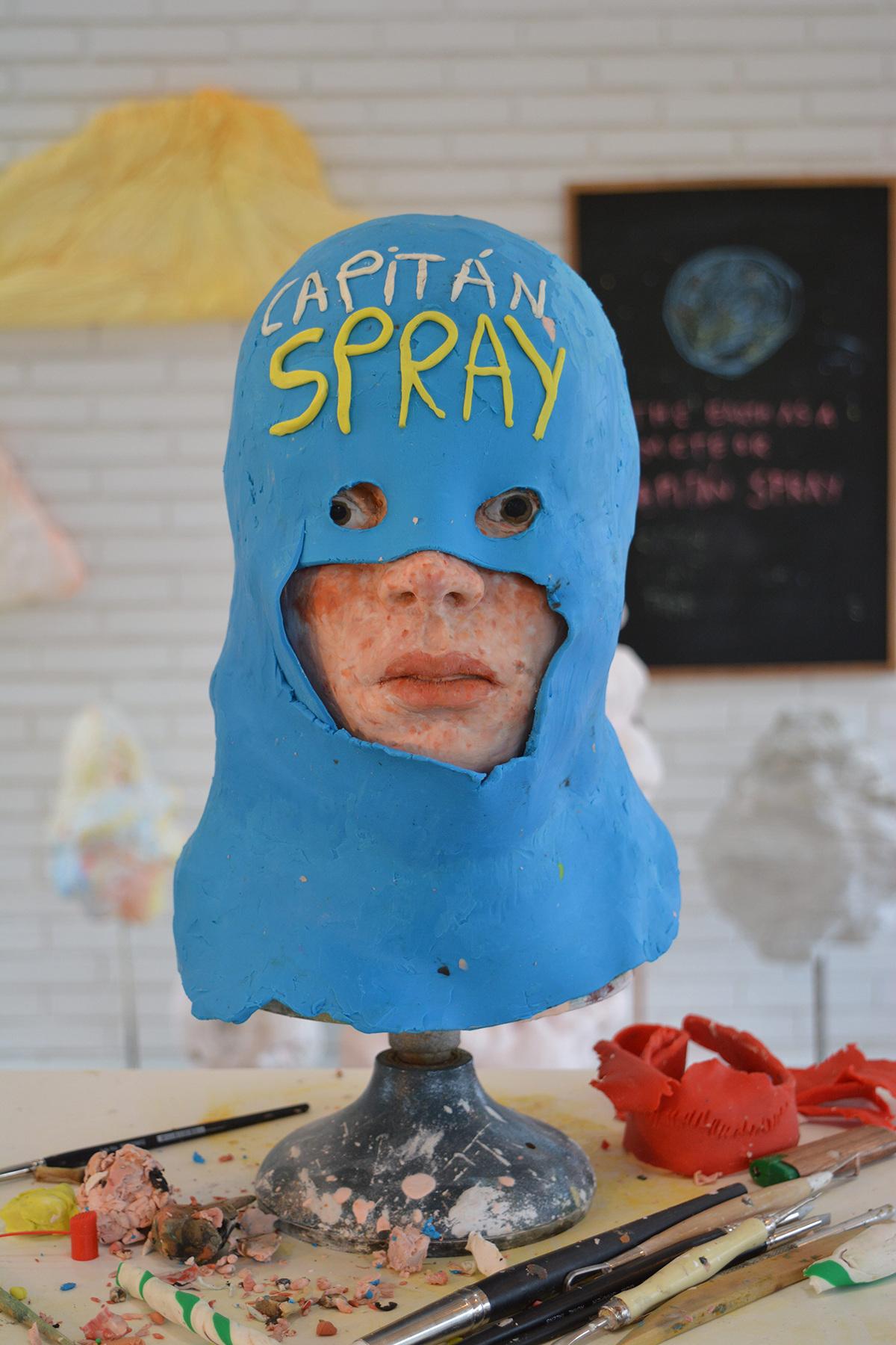 Capitán Spray  Detalle de estudio, plastilina tamaño natural, 2014