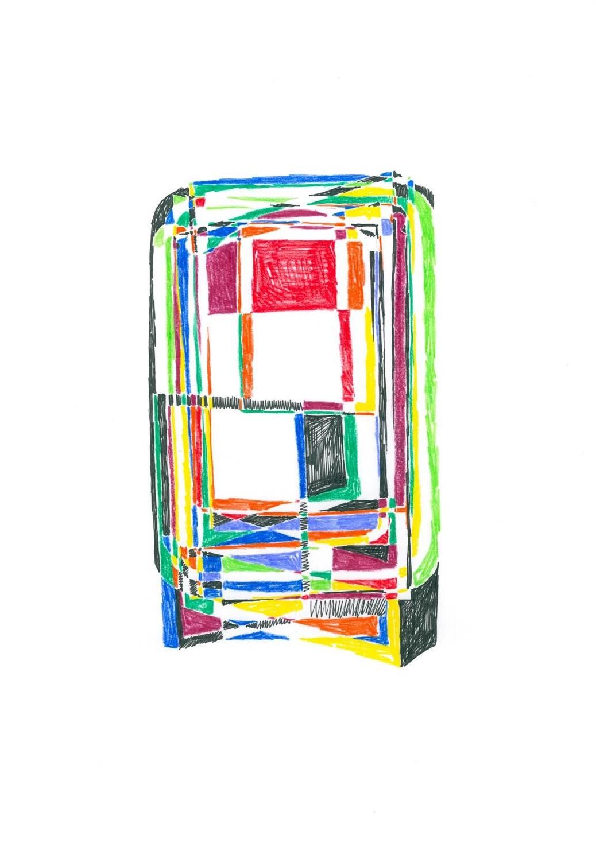 """""""Sin Título"""" (2), 2017. Tinta y ceras sobre papel. 42x30 cm."""