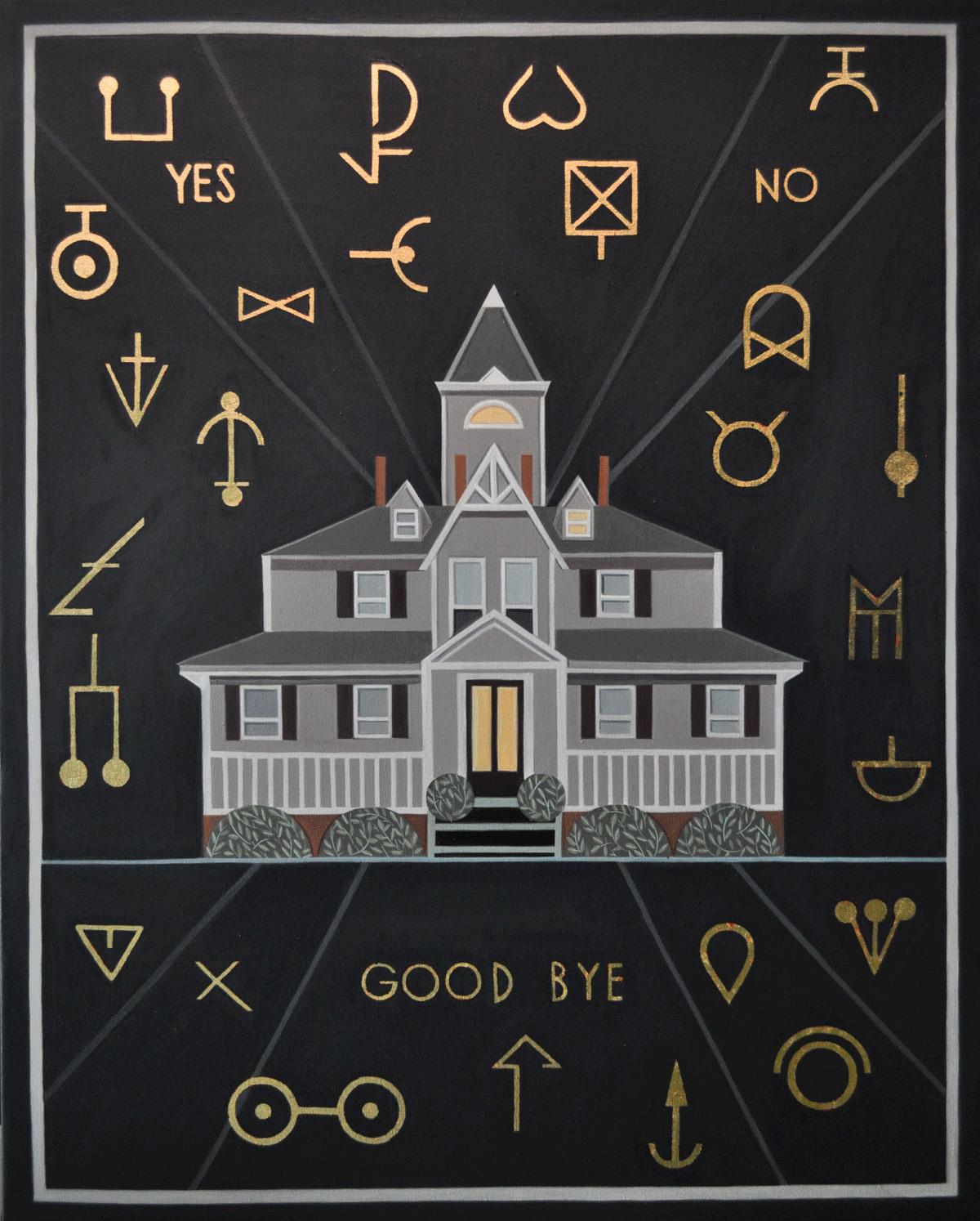 """""""Yes, no, good bye"""" 2017. Óleo y esmalte sobre lienzo.. 81x65 cm"""