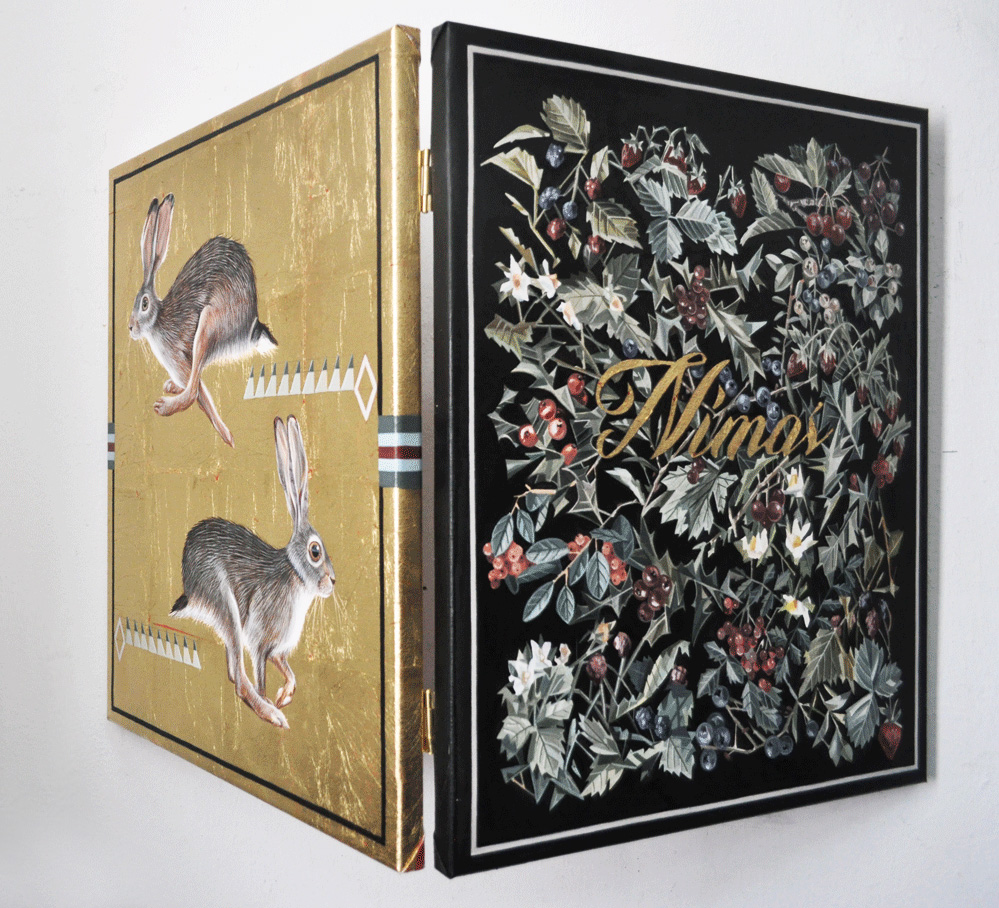 """Díptico """"NIMENOS"""", 2017. Óleo, esmalte y pan de oro sobre lienzo. 46x110 cm"""