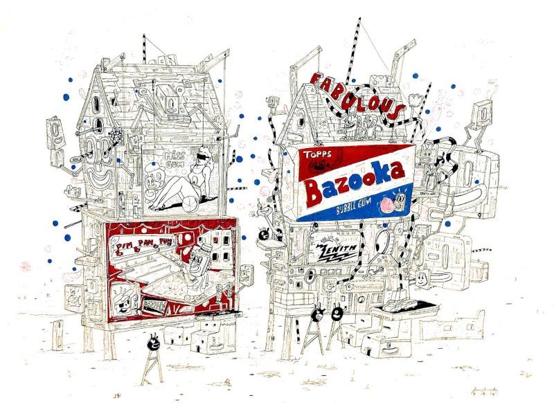 """Bazooka. Fabulous"", 2012. Rotulador Pilot y acrílico sobre cartulina. 70x100 cm"