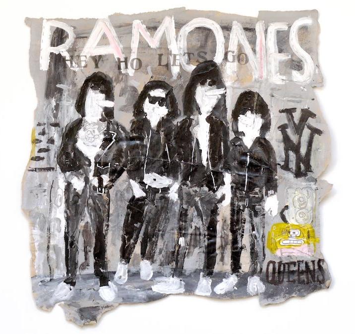 """""""Ramones"""", 2017.Acrílico, collage y lápiz sobre papel. 38x38 cm"""