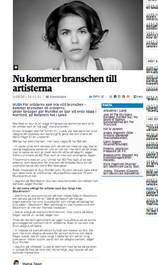 Intervju i Norrbottens-Kuriren - Manifest on Tour.png