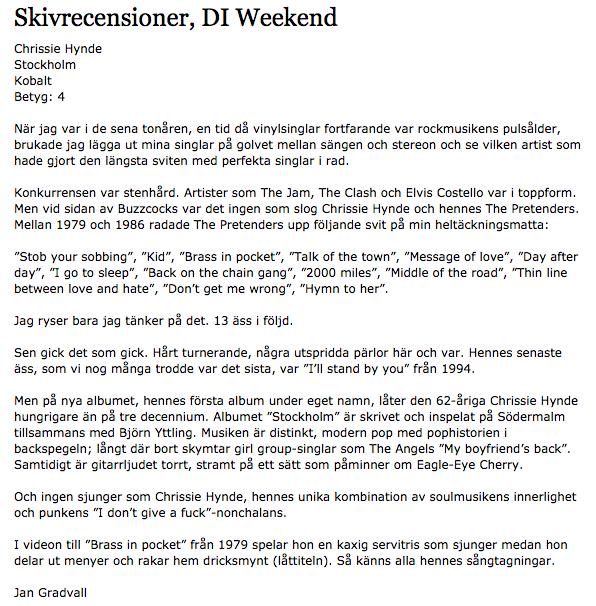 Chrissie Hynde - recension i DN Weekend.png