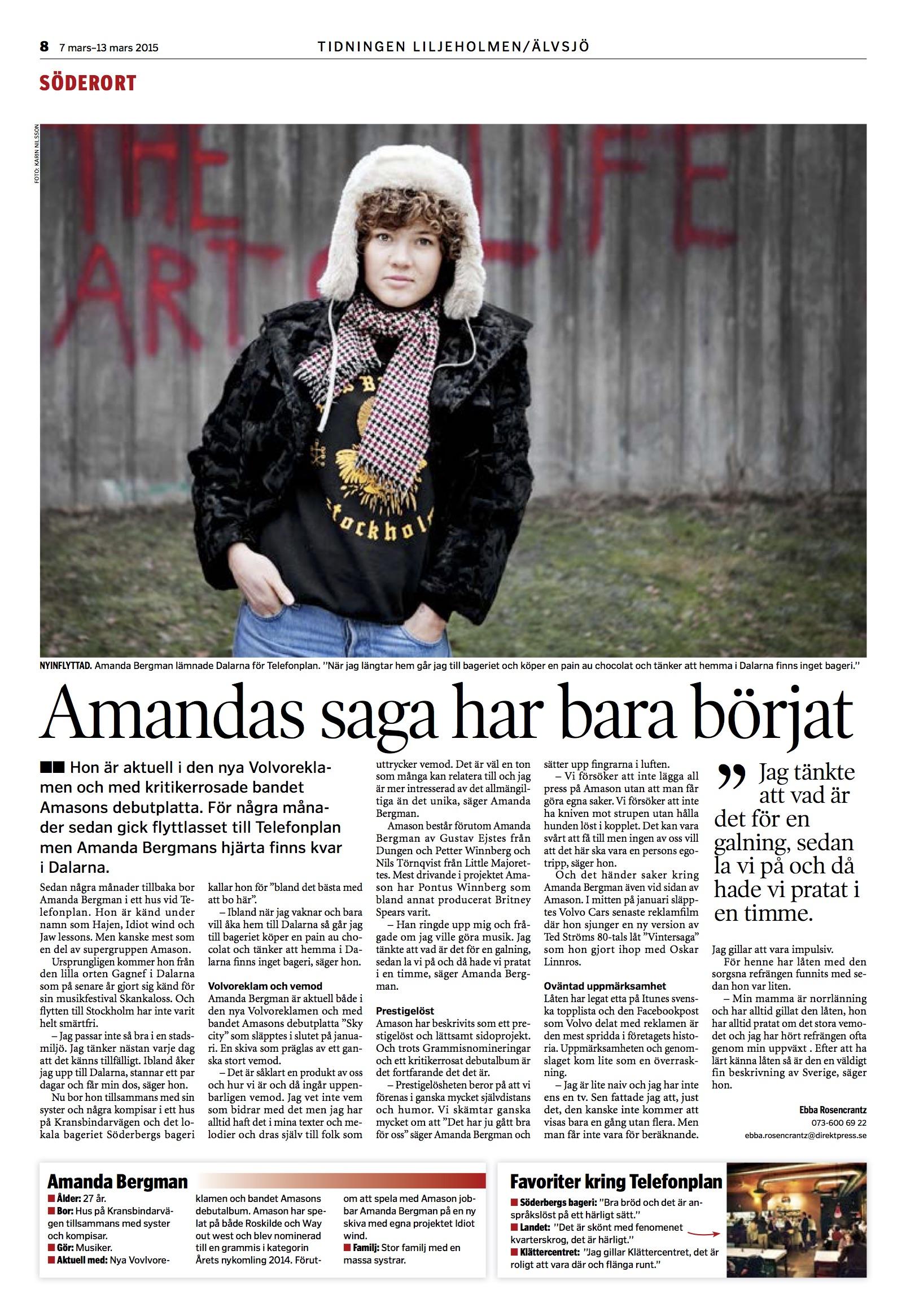 Tidningen Älvsjö:Liljeholmen intervju - Amanda Bergman.jpg