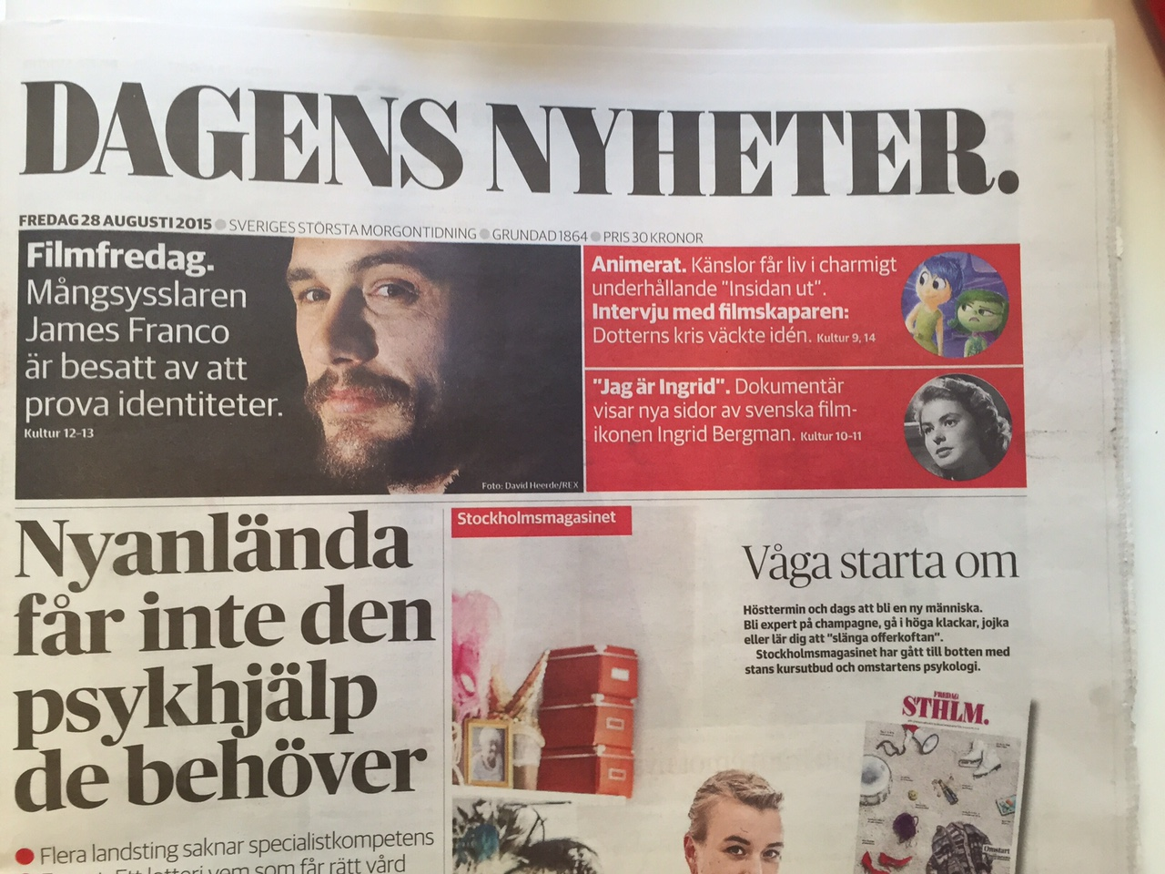 Notis om James Franco på omslaget DN 28 aug.JPG