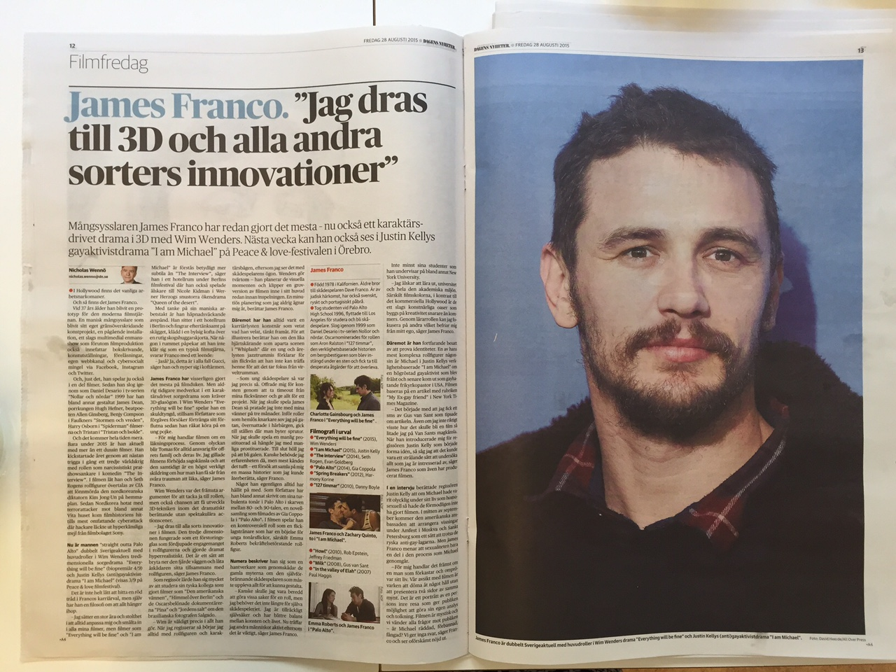 Uppslag om James Franco_DN Kultur 28 aug.JPG