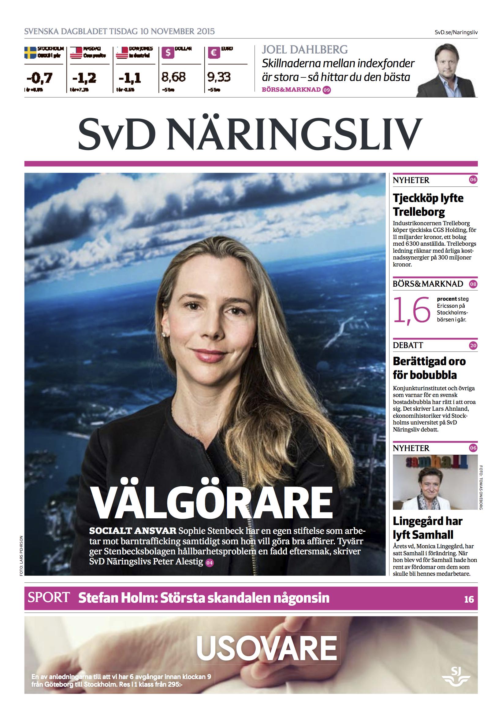 SVD Näringsliv_framsida_ Sophie Stenbeck 2015.jpg