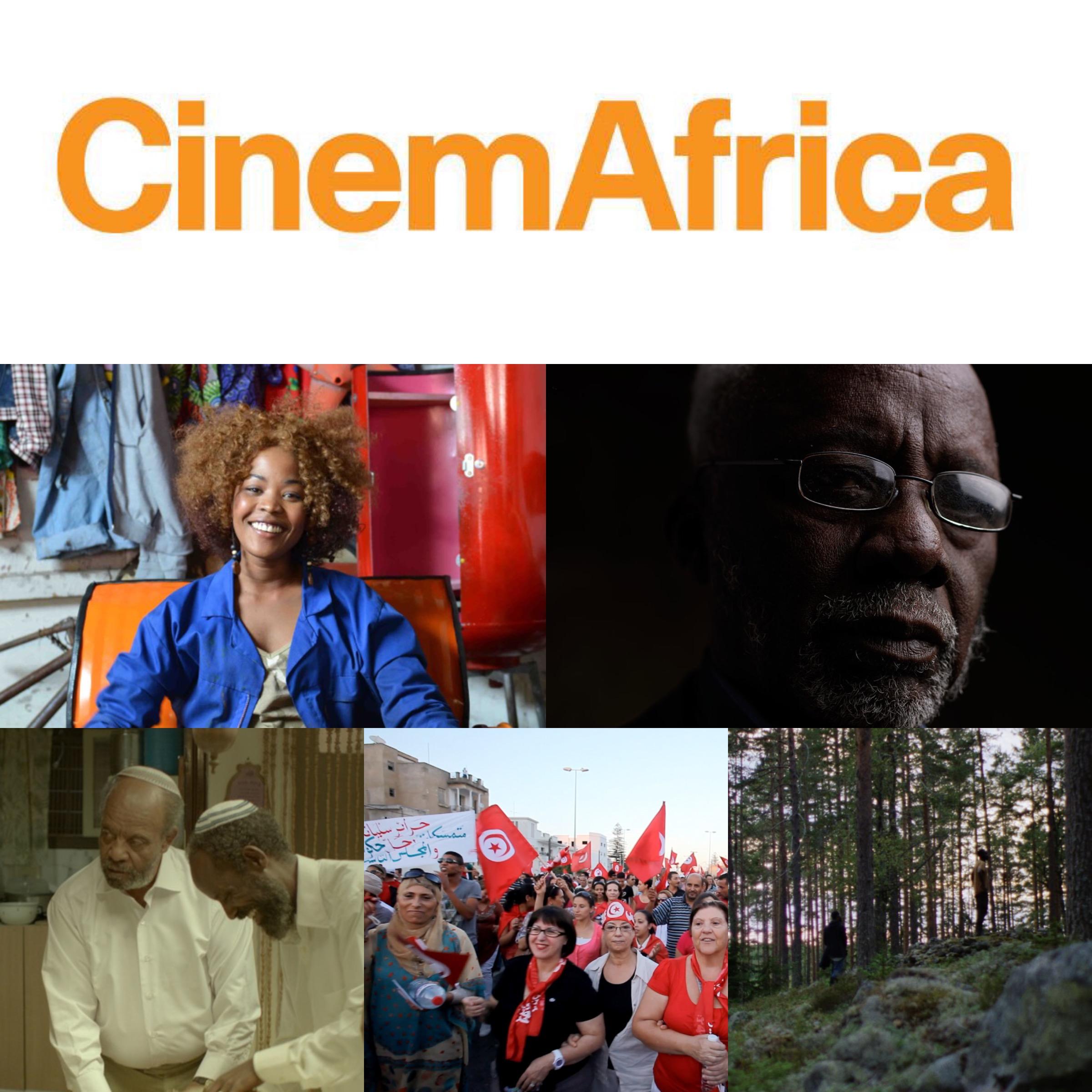 """CinemAfricas logotyp, samt (ovan från höger): bild ur öppningsfilmen """"Ayanda"""" (av Sara Blecher, Sydafrika, 2015), maliske mästerregissören Souleymane Cissé som gästar festivalen, bild ur """"Red Leaves"""" (av Bazi Gete,Etiopien, 2015) med huvudrollsinnehavaren Debebe Eshetu som gästar festivalen, bild ur """"Feminism Inshallah"""" (av Fériel Ben Mahmoud, Tunisien, 2014), samt bild ur """"Francis"""" (av Ahmed Abdullahi, Sverige, 2015)."""