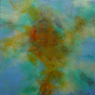 """Dispersant,  2014, encaustic and iron oxides on panel 12"""" x 12"""""""