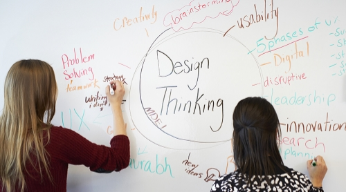 MDEI students brainstorming on the white wall in a project room.