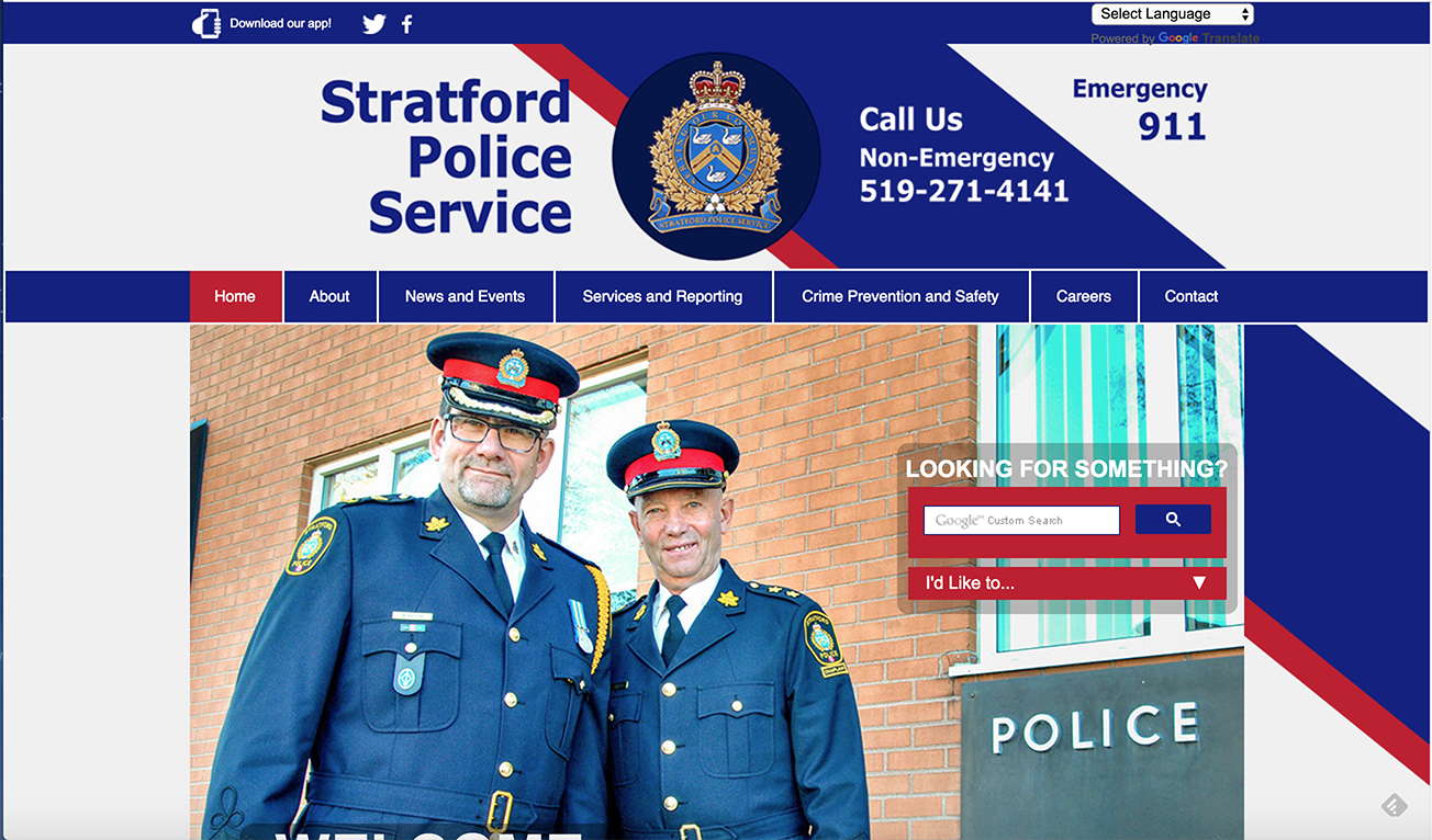(Top) Stratford Police Service, (Winning) Website Design