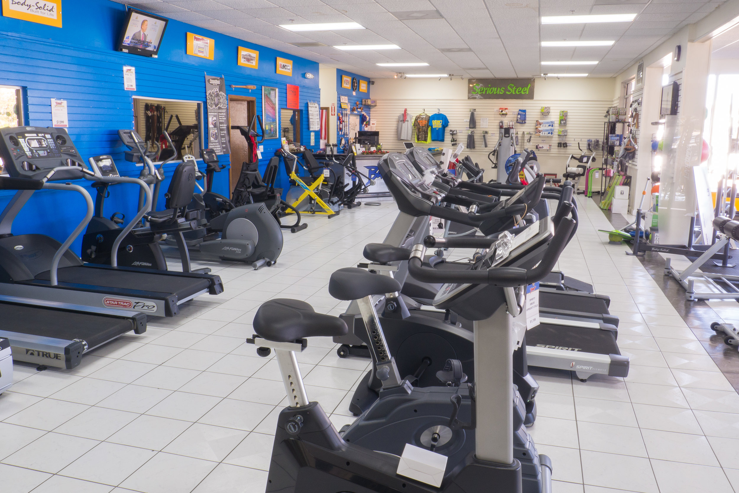 23,000 Square Feet - Our store is jammed full of both new and preowned fitness equipment that you're always welcomed to hop on and try.