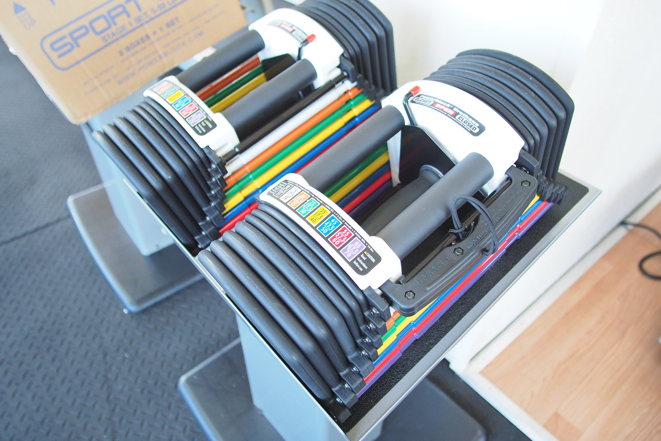 replace An entire rack of dumbbells - Within one set of PowerBlocks you can replace an entire rack, up to 120lbs!