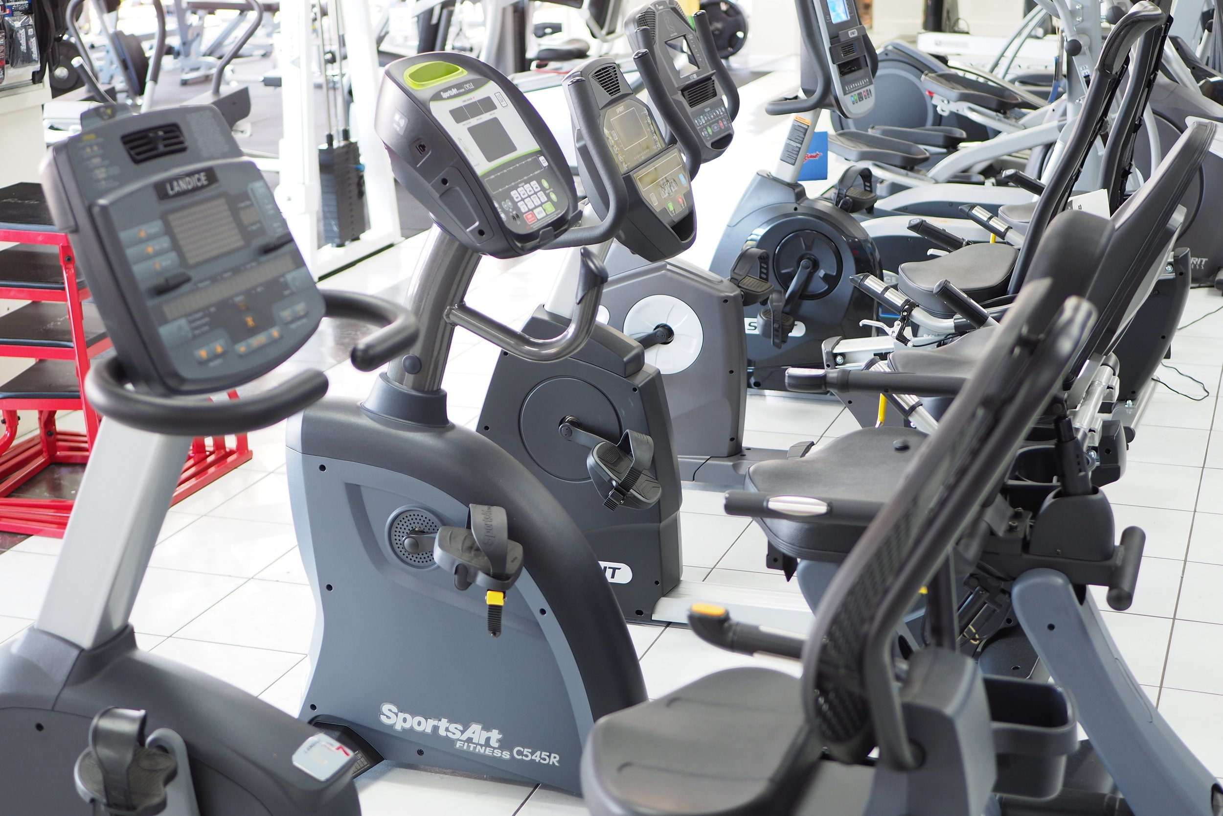 Some of our Recumbent Bikes in our Showroom