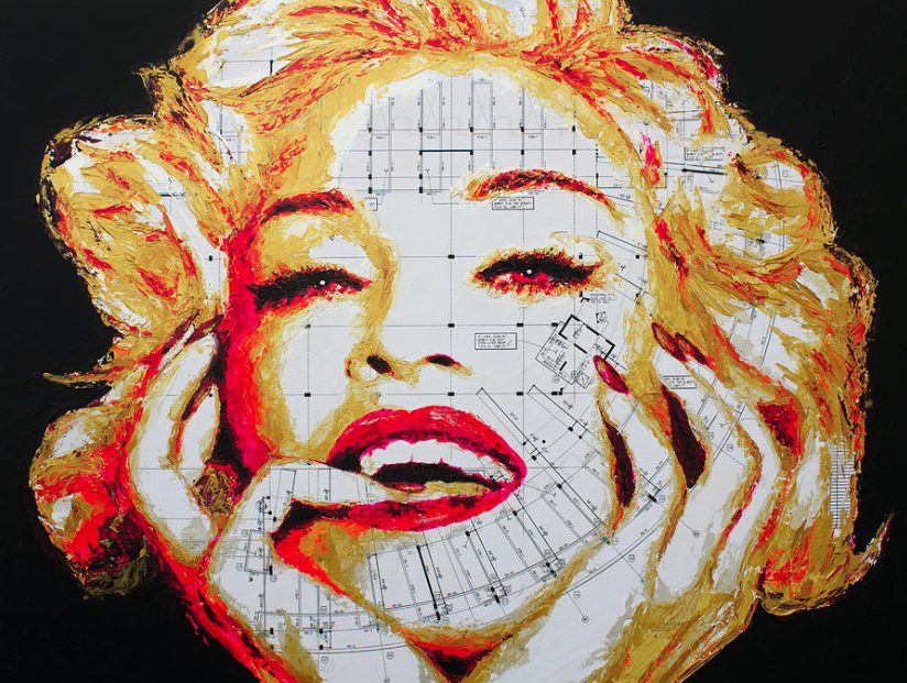 Madonna by HaviArt (2015) - Acrylic with spatula on blueprints.