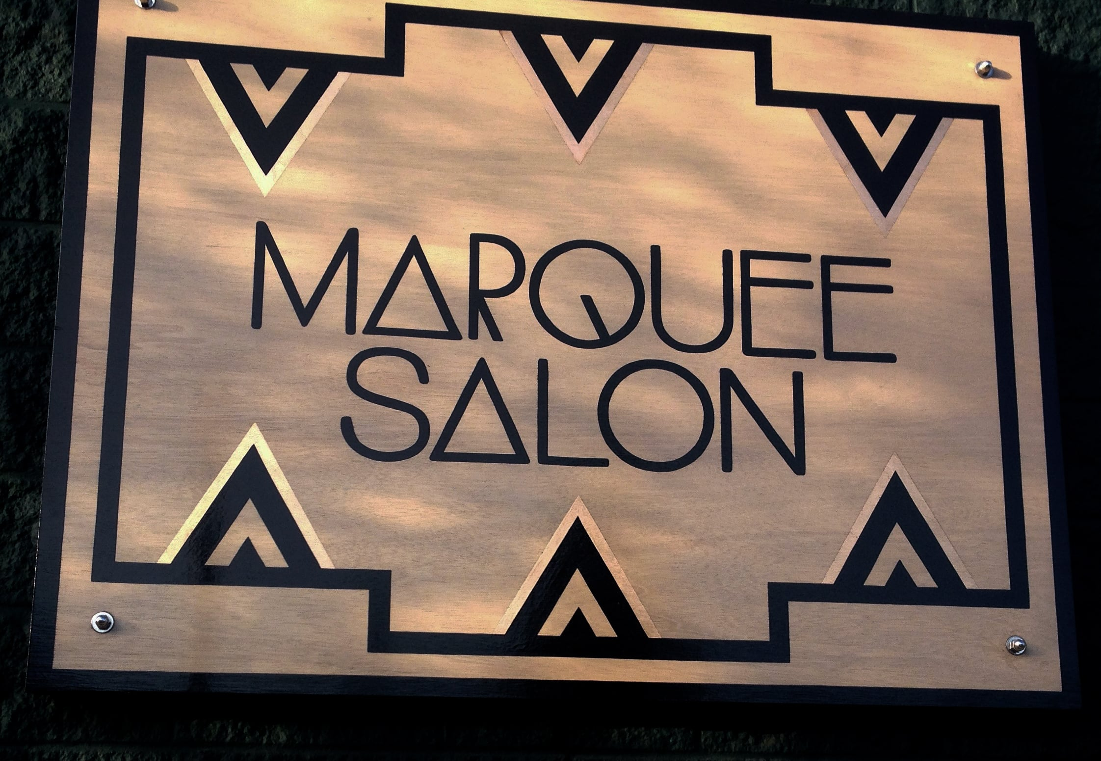 STARCADE DESIGNS CUSTOM DESIGN FOR MARQUEE SALON SIGNAGE/ CUSTOM SIGN PAINTING AND COPPER FOIL APPLICATION BY SF SIGNS /©MARQUEE SALON  .