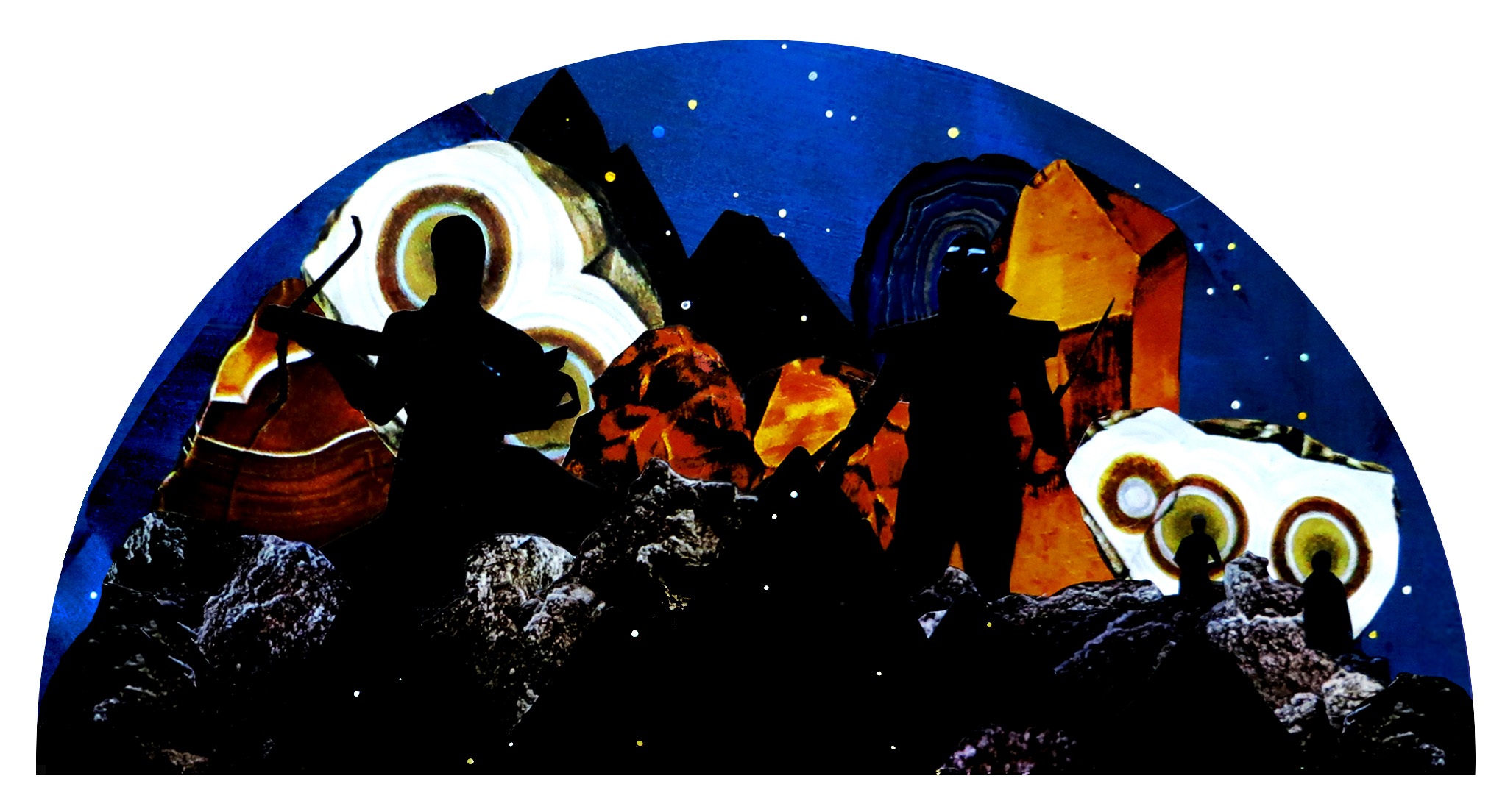 SPACE WARRIORS / MIXED MEDIA PAPER COLLAGE WITH GOUACHE & ACRYLIC / 13X25IN      .