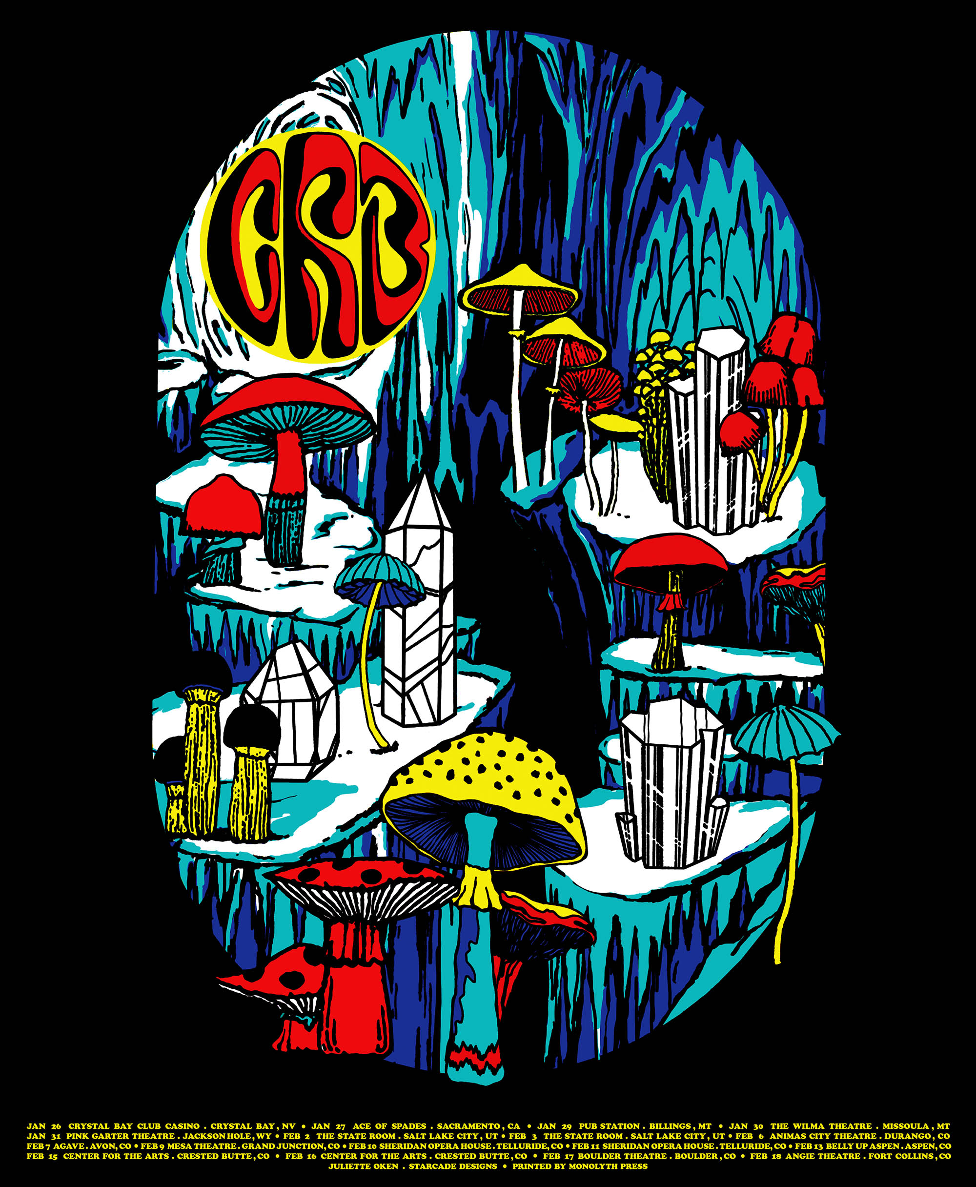 POSTER DESIGN FOR EDITION SCREEN PRINTED TOUR POSTER FOR CRB              .