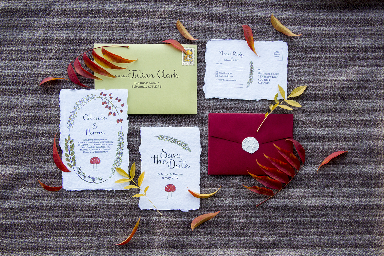 Autumnal woodland wedding invitations