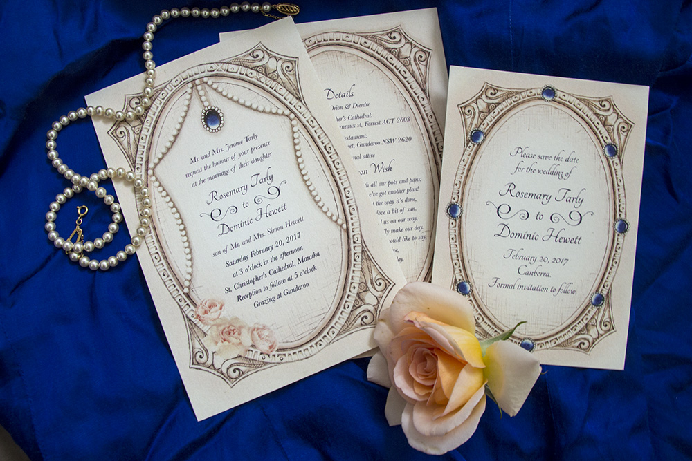 Romantic vintage wedding invitations