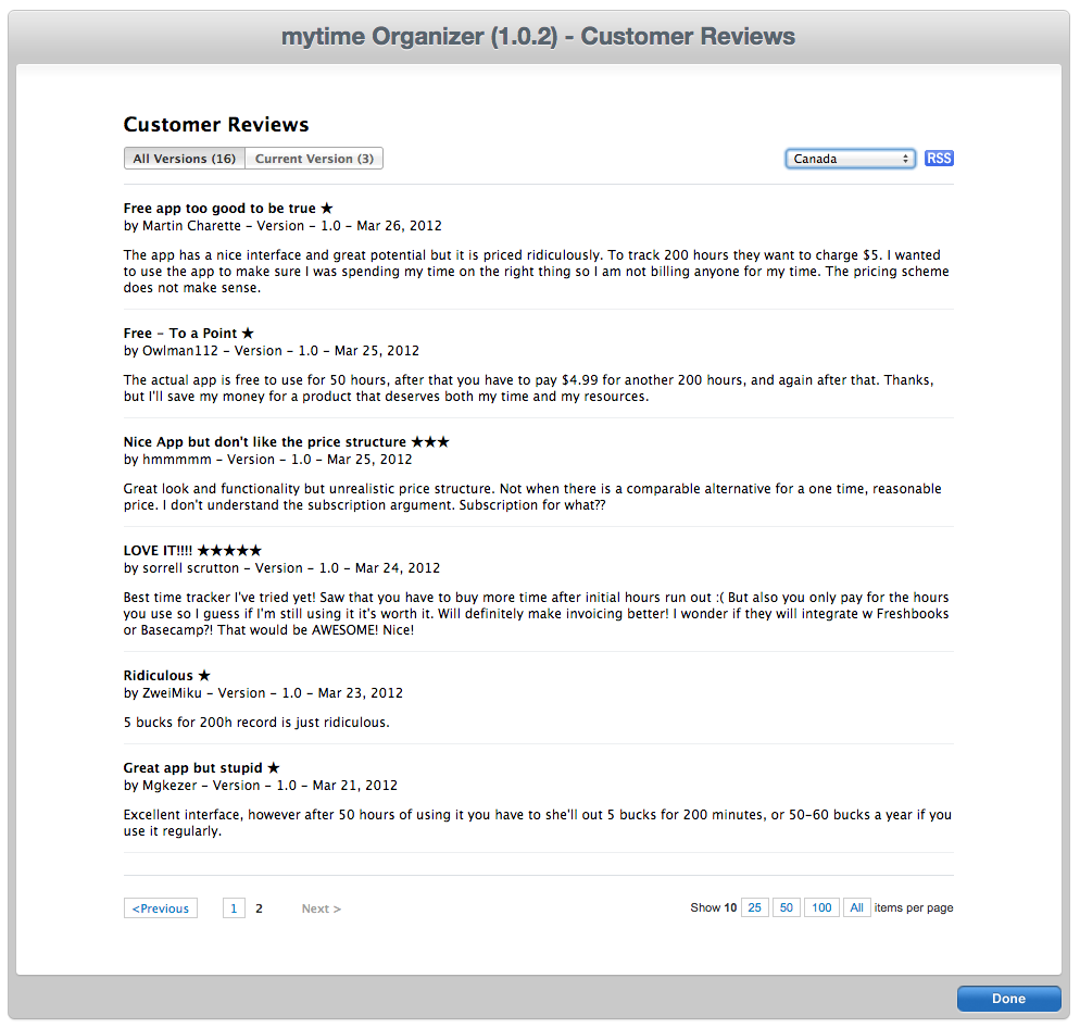 Some of our earliest (and angriest) app store reviews. You can still  download the original mytime Organizer .