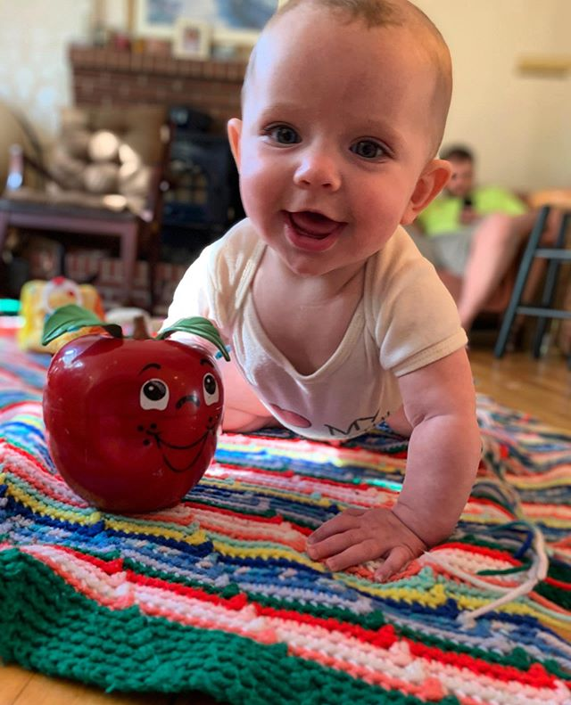 Six months old and playing with the Happy Apple Mama had when she was a baby 🥰 #happyapple #80stoys