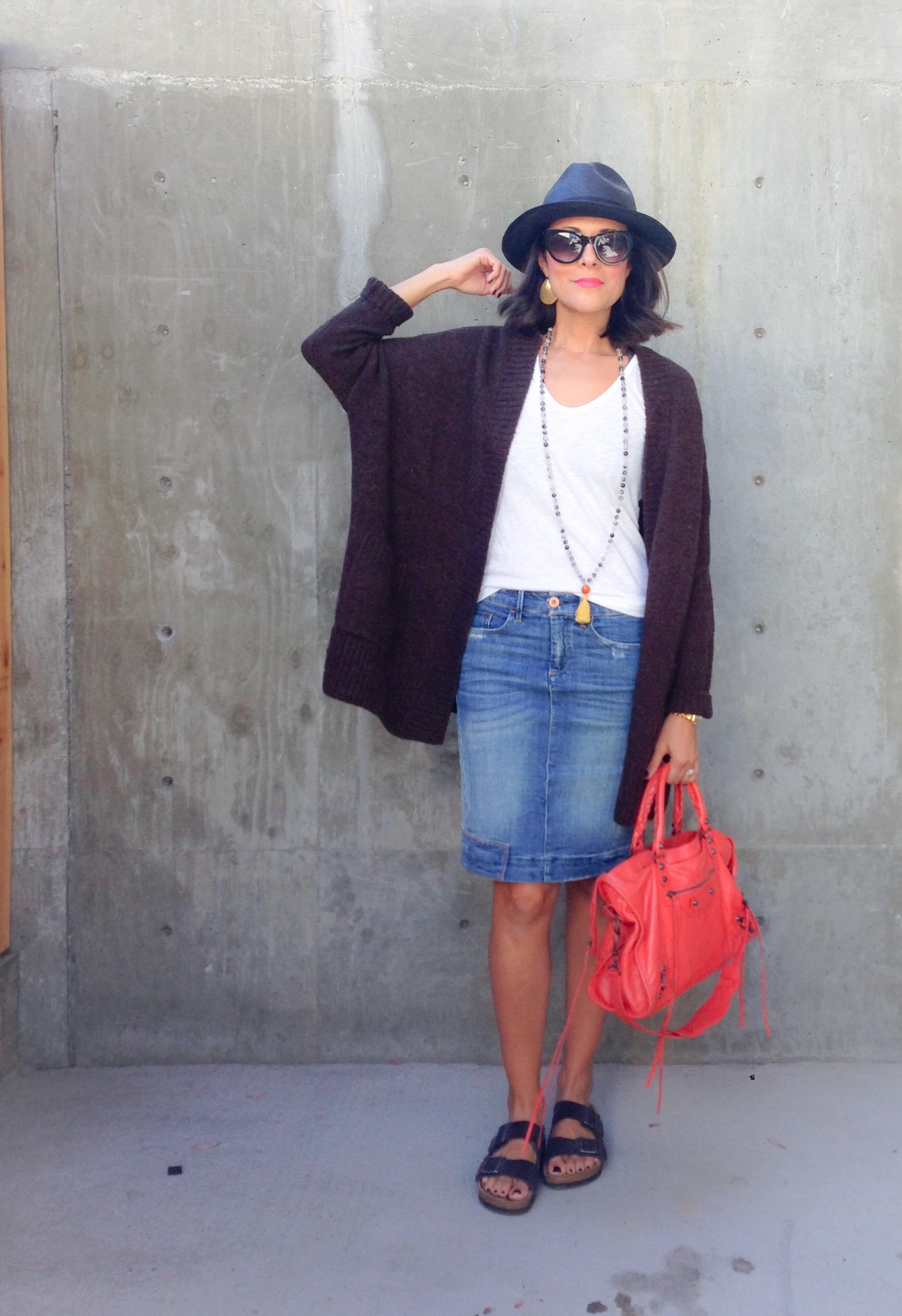 Sweater $59.90  |  Tank $24.95  |  Birkenstocks $129.95  |  Handbag  Mala Beads |  Hat similar here $65  |  Sunglasses $125