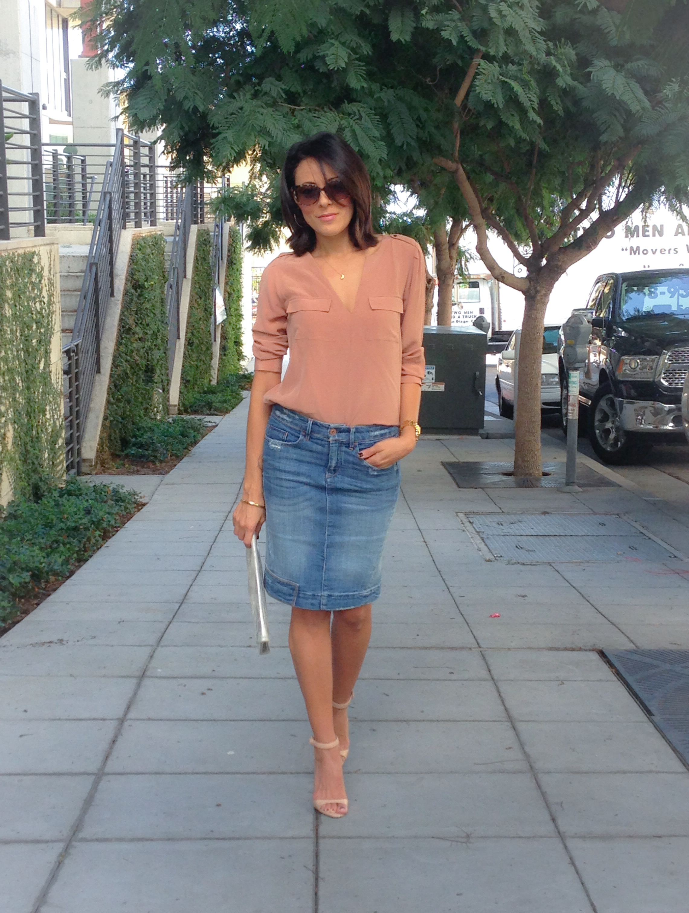 Blouse similar here $228  |  Watch  | Clutch  similar here $39  Sandals  similar here $119  |  Sunglasses