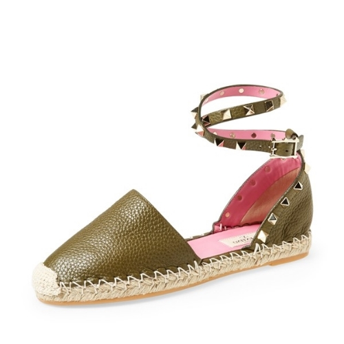 Valentino 'Rockstud' Leather Espadrille