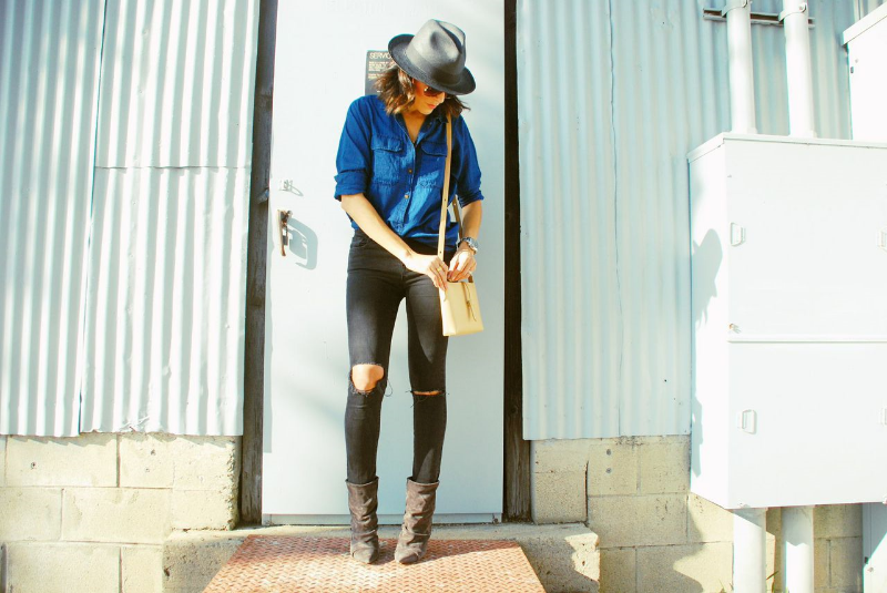 blackdenim.madewell.chambray.hat.isabelmarant.booties.jpg