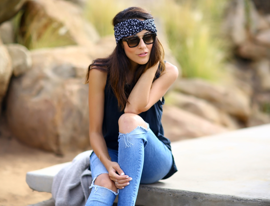 "Wearing:    Current Elliot Muscle Tank    //    Mother Denim Jeans    //    Celine Sunglasses    //    I""m With the Band Turban    Images by Erica from  Fashioned Chic"