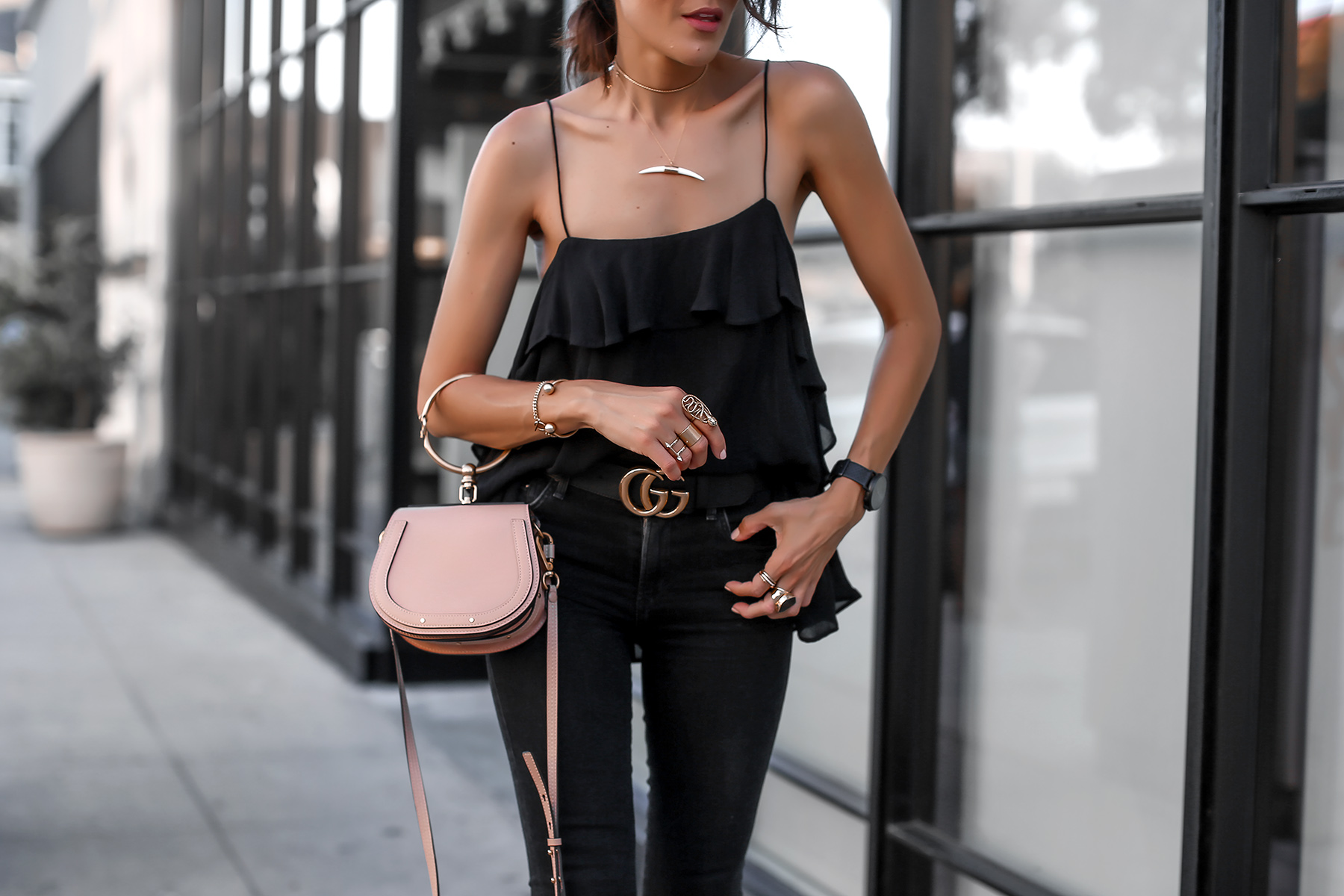 Ruffle cami and black jeans with chloe nile bag.jpg