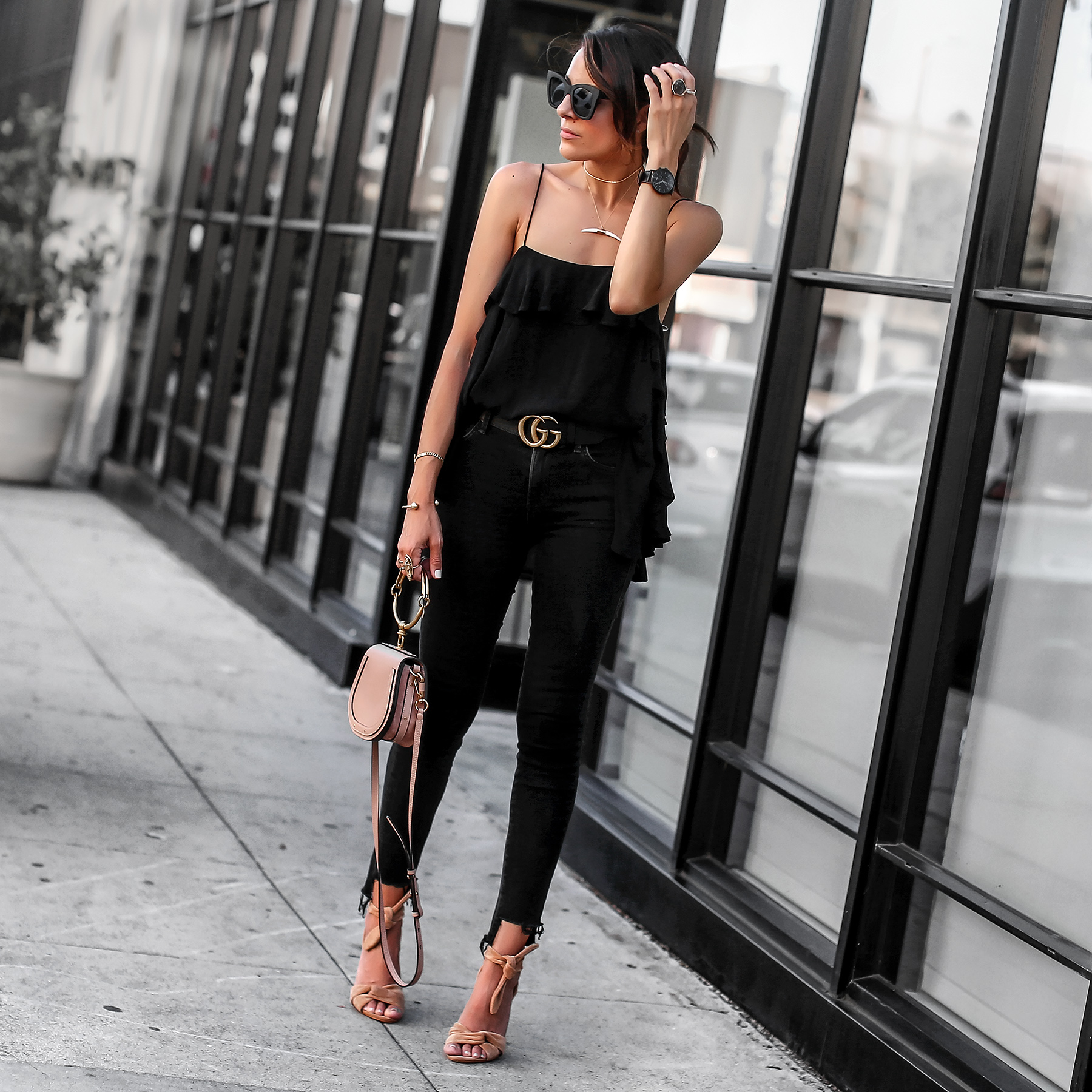 Ruffle cami black jeans chloe nile bag gucci belt.jpg
