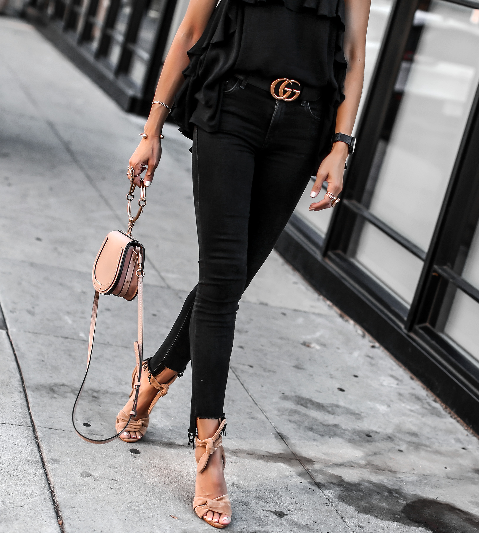Ruffle cami and black jeans chloe nile bag gucci belt Schutz Sandals.jpg
