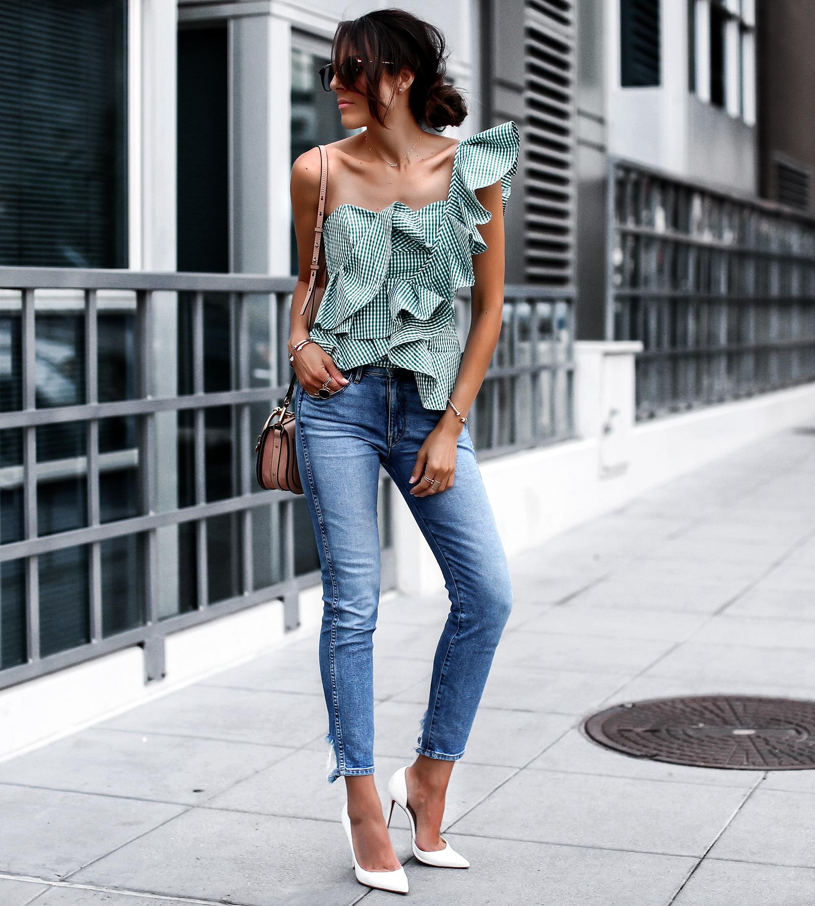 Stylekeepers Ruffled Bustier Top with 3x1 Denim Chloe Nile Bag Christian Louboutin White Pumps.jpg